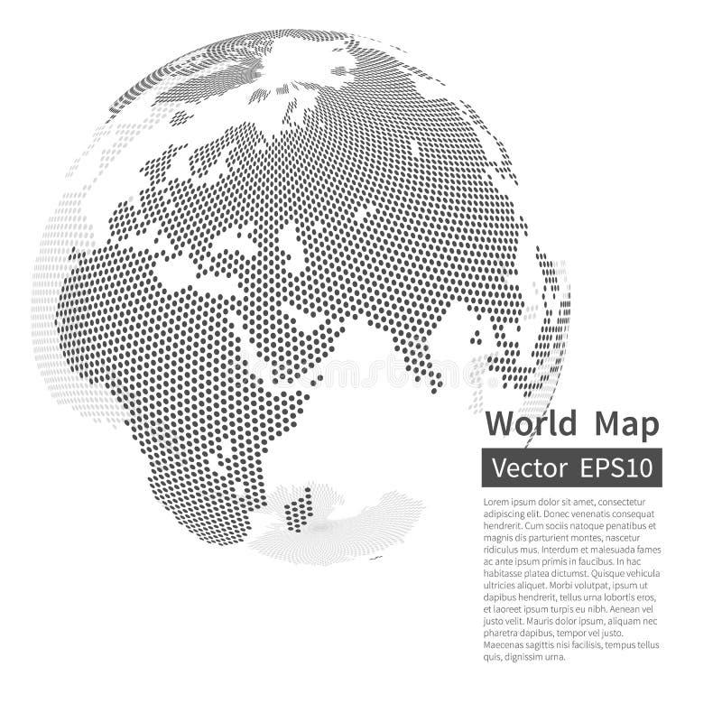 背景加点的映射世界 接地地球 概念全球化查出的白色 库存例证