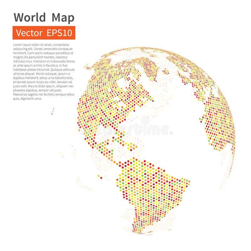 背景加点的映射世界 接地地球 概念全球化查出的白色 向量例证