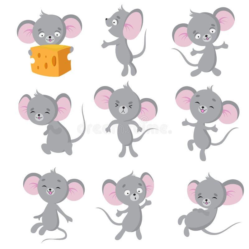 背景动画片滑稽的鼠标汇率向量白色 灰色老鼠用不同的姿势 逗人喜爱的野生鼠动物传染媒介字符 向量例证