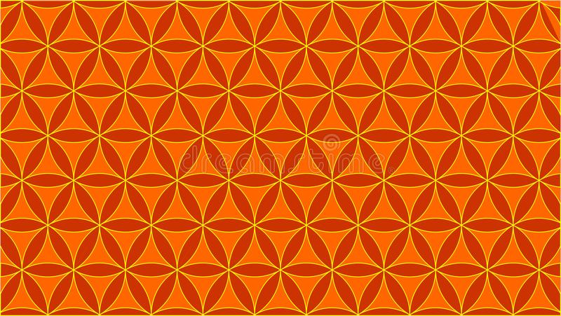 背景包含连结的圈子,并且他们的形状类似玫瑰,橙色颜色 免版税图库摄影