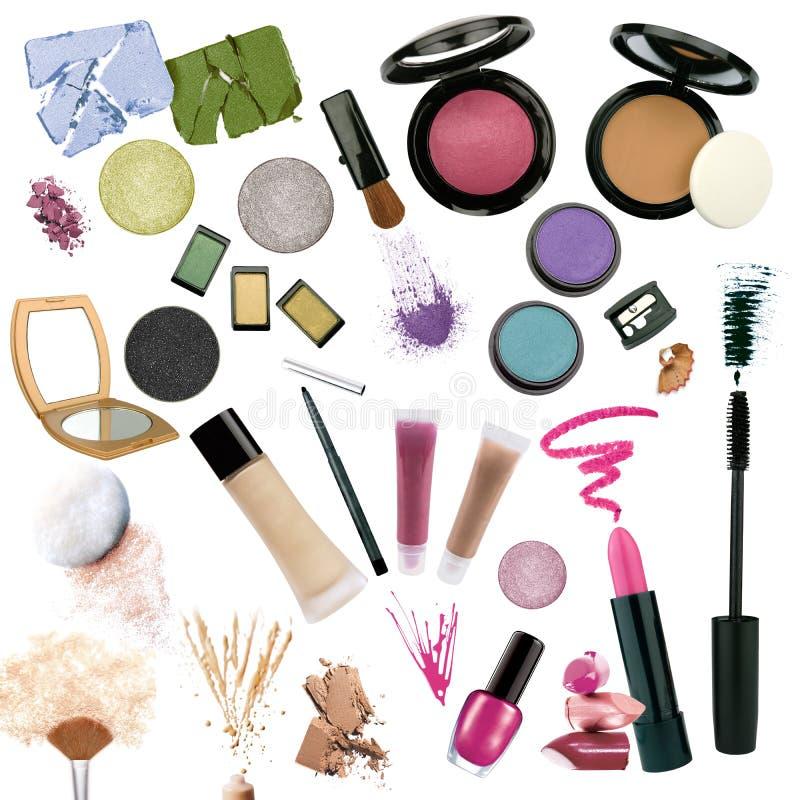 背景化妆用品查出多种白色 免版税库存照片