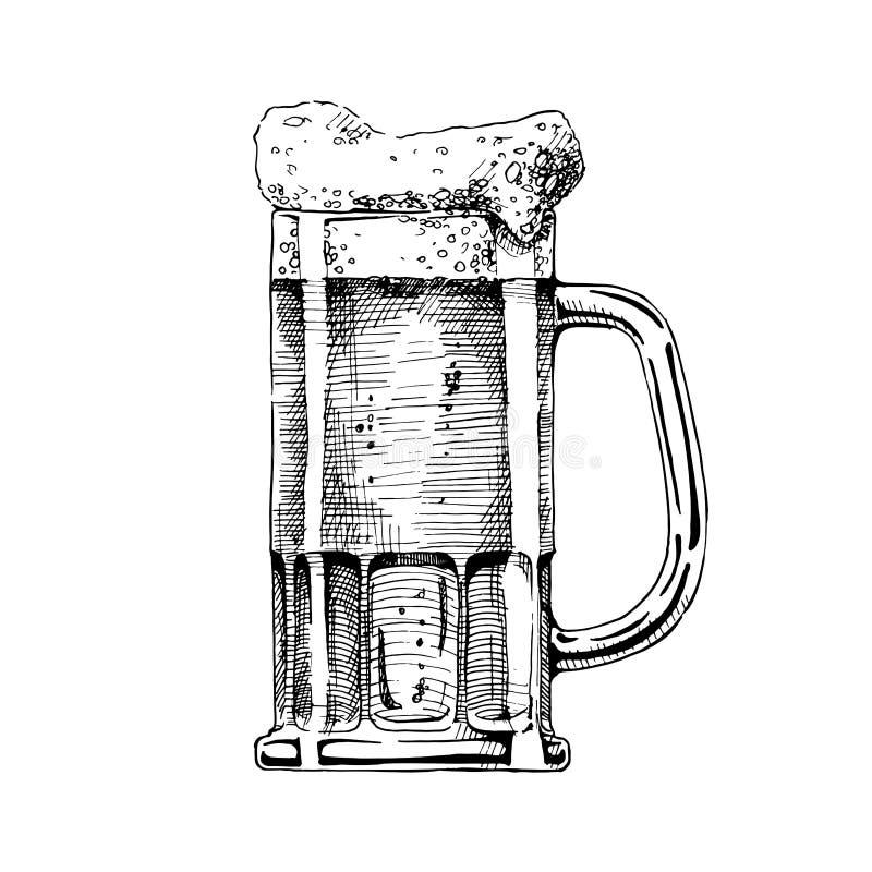 背景发光啤酒杯的例证 皇族释放例证