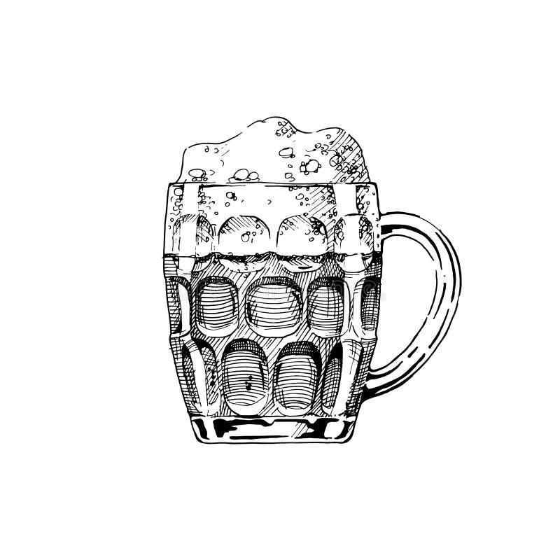 背景发光啤酒杯的例证 向量例证