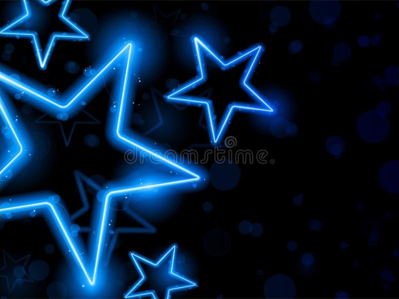 背景发光的霓虹星形 皇族释放例证