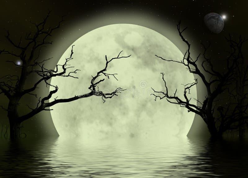 背景可怕幻想的月亮 皇族释放例证