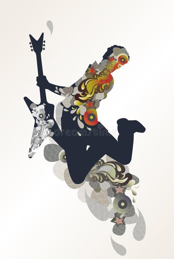 背景吉他弹奏者音乐 向量例证