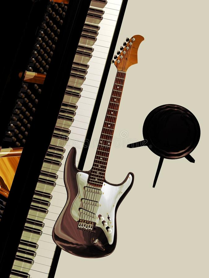 背景吉他音乐钢琴 库存例证