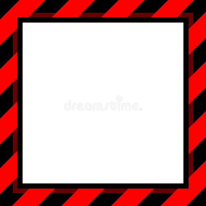 背景和白色拷贝空间的,横幅框架警报信号红色和黑条纹框架模板镶边了遮篷红色,条纹 皇族释放例证