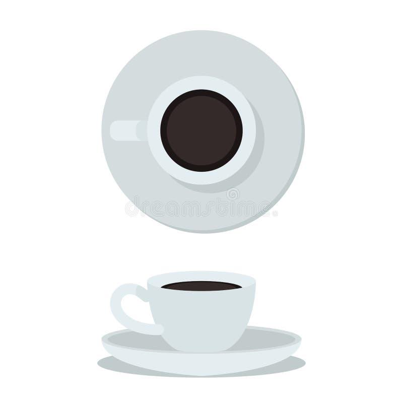 背景咖啡杯查出的白色 顶视图和侧视图加奶咖啡杯子 咖啡杯传染媒介例证 皇族释放例证