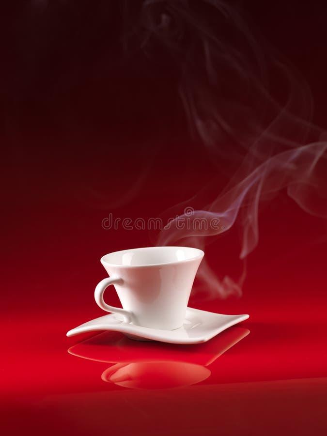 背景咖啡杯红色白色 库存图片