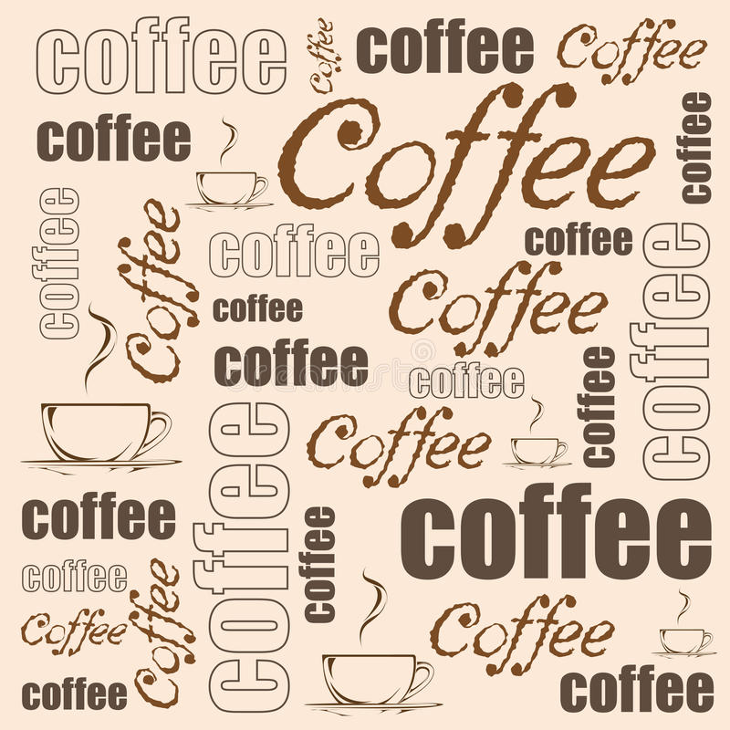 背景咖啡设计要素向量 与一杯咖啡的例证和手拉的wods 库存例证