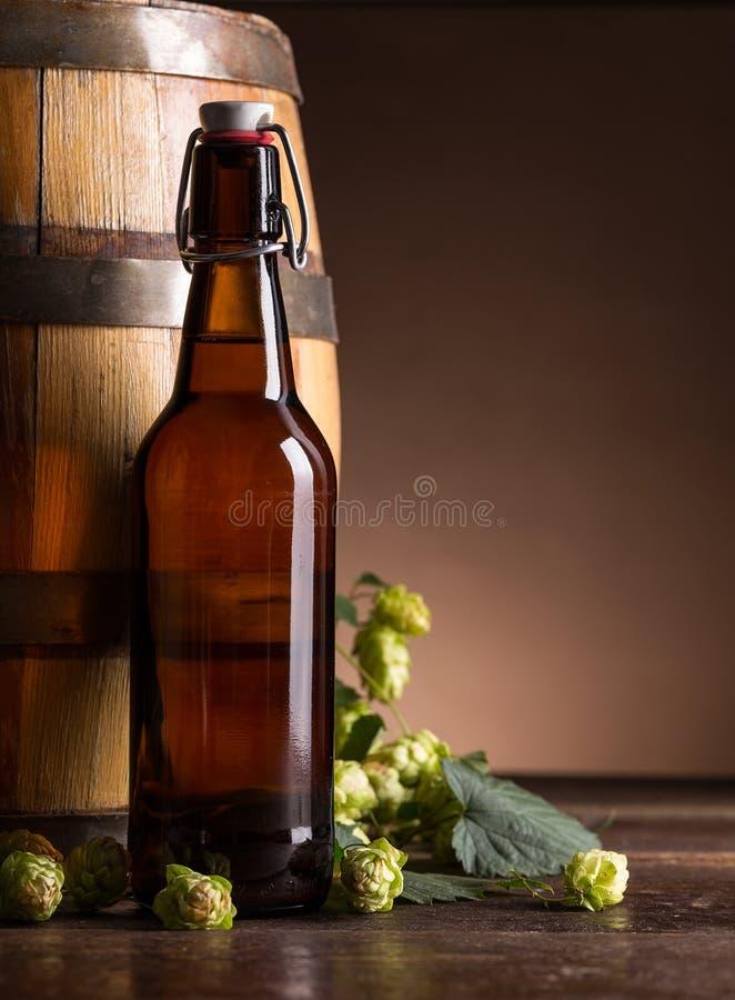 背景啤酒瓶例证桔子向量 免版税库存图片