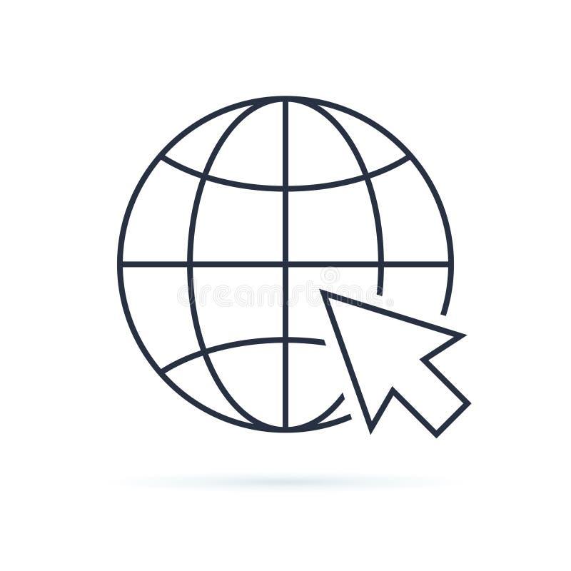 背景图标拖拉机万维网被转动的白色 网象您的网络设计的页标志 互联网世界传染媒介 传染媒介地球地球例证,行星 向量例证