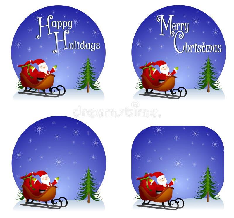 背景圣诞老人雪橇 向量例证