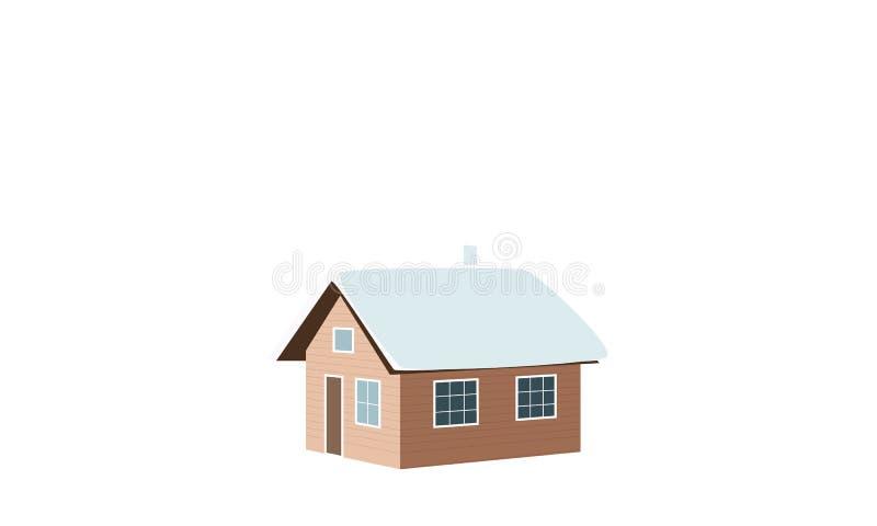 背景圣诞节关闭红色时间 冬天房子,棚子,小屋,客舱,棚子,简陋小木屋,轻便小床,村庄,雪加盖了窗口烟囱烟传染媒介例证 库存例证
