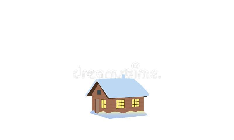 背景圣诞节关闭红色时间 冬天房子,棚子,小屋,客舱,棚子,简陋小木屋,轻便小床,村庄,雪加盖了,被阐明的窗口烟囱烟传染媒介 皇族释放例证