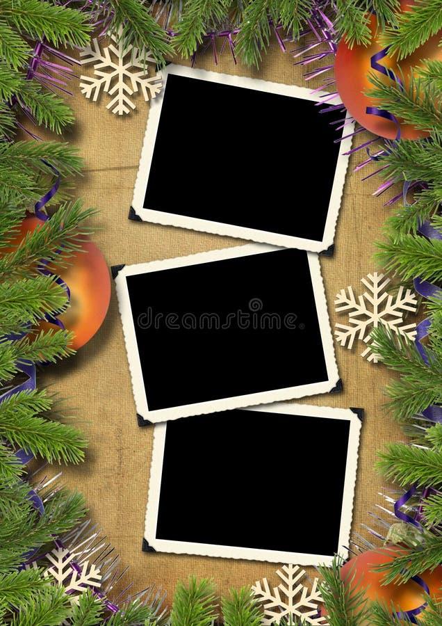 背景圣诞节减速火箭结构的照片 免版税库存照片