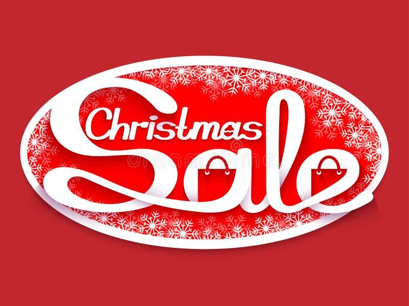 背景圣诞节女孩愉快的销售额购物白色 与书法题字的销售横幅 库存例证