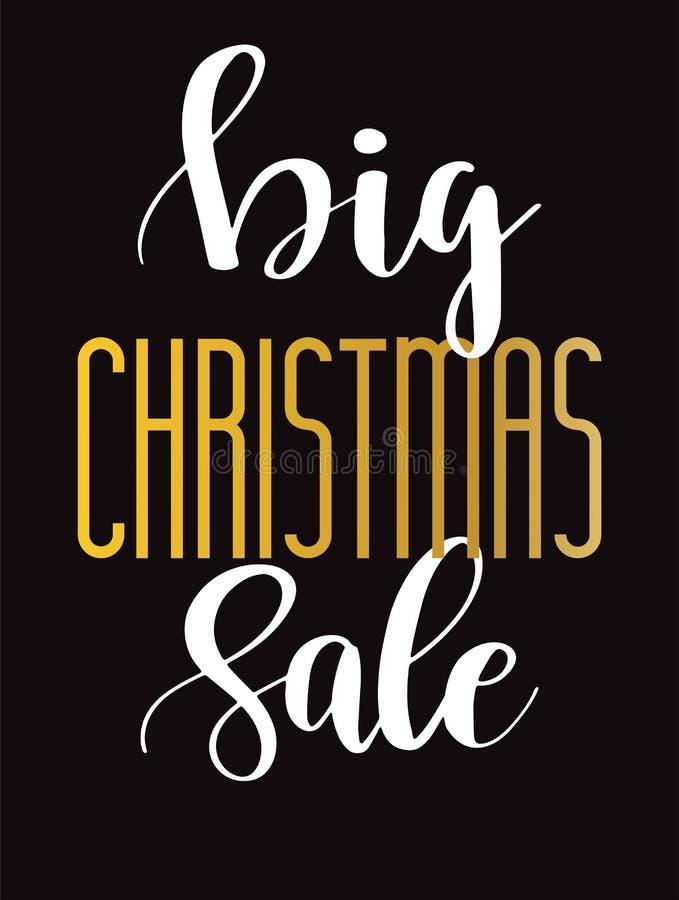 背景圣诞节女孩愉快的销售额购物白色 与手字法文本的传染媒介横幅 库存例证