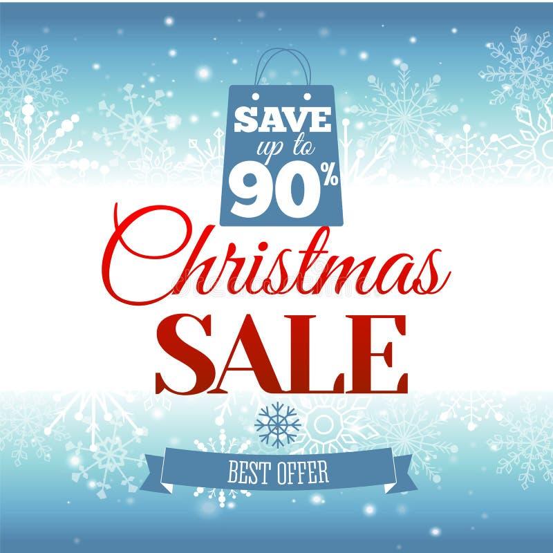 背景圣诞节女孩愉快的销售额购物白色 与雪花和发光的火花的传染媒介背景 荒地 登记 向量例证