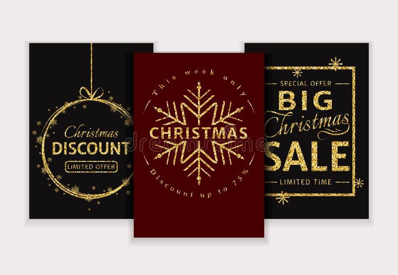 背景圣诞节女孩愉快的销售额购物白色 传染媒介被设置的闪烁横幅 库存例证