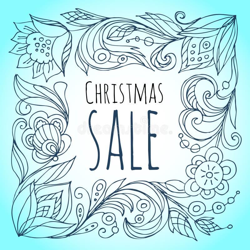 背景圣诞节女孩愉快的销售额购物白色 装饰花卉框架 向量例证