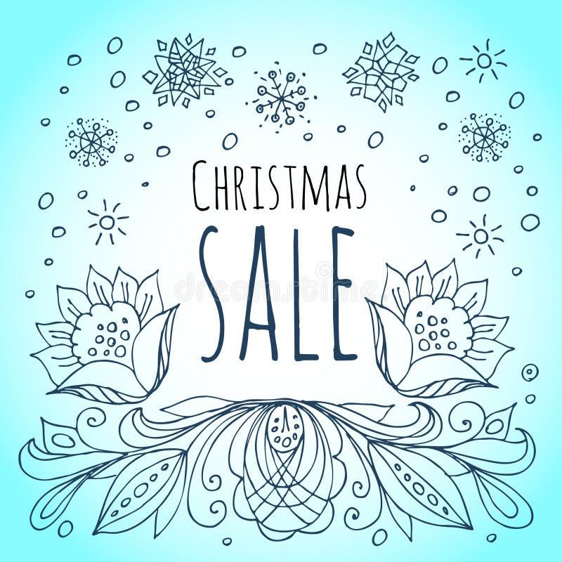 背景圣诞节女孩愉快的销售额购物白色 雪花和冬天花 皇族释放例证