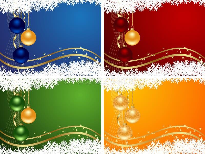 背景圣诞节彩色组 库存例证