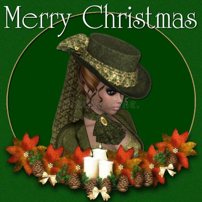背景圣诞节快活的维多利亚女王时代&# 库存例证
