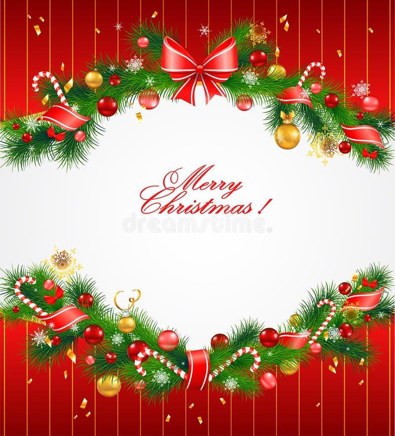 背景圣诞节欢乐杉树 向量例证