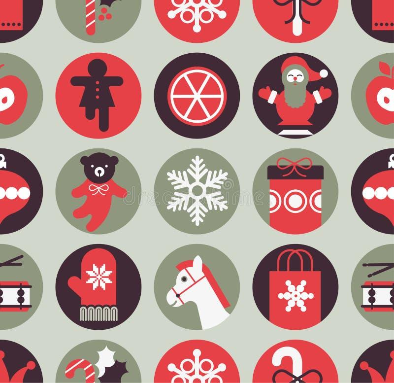 背景圣诞节礼品无缝的向量 库存例证