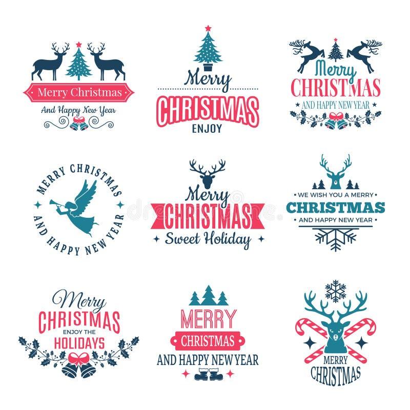 背景圣诞节要素查出白色 假日标签边界徽章和葡萄酒新年邮票导航与您的文本的愿望 向量例证