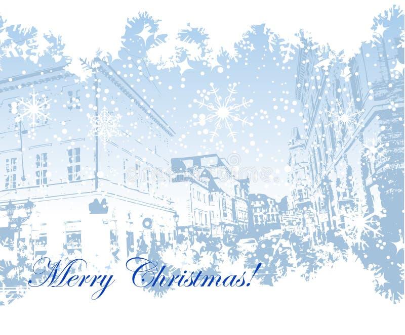 背景圣诞节都市风景 向量例证