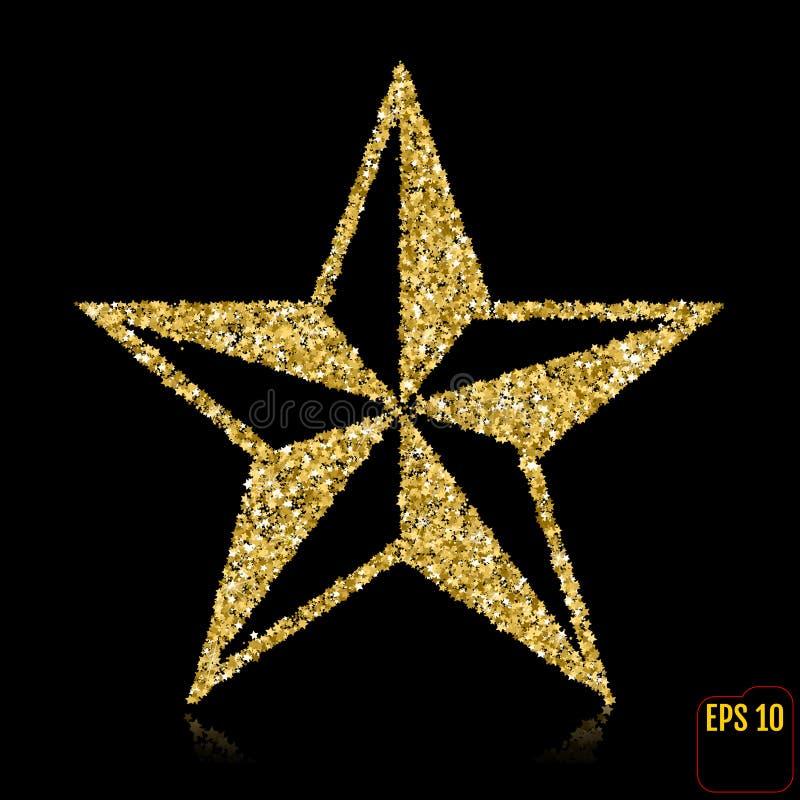 背景圣诞节金黄星形白色 顶视图 去 向量例证