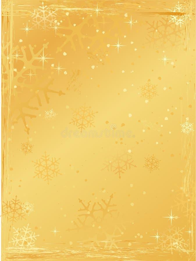 背景圣诞节金黄grunge垂直 库存例证