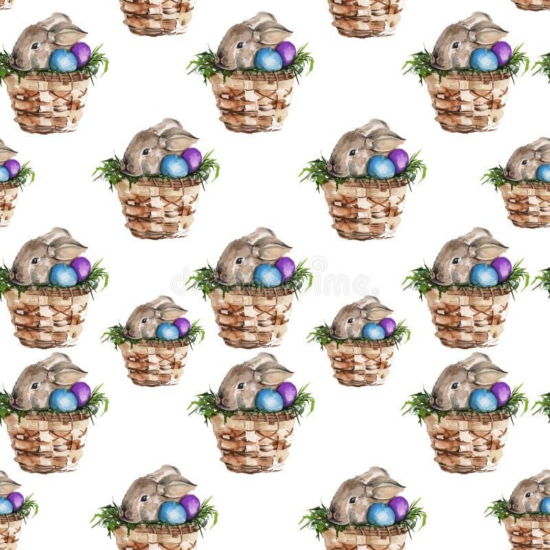 背景在篮子的复活节兔子 水彩 皇族释放例证
