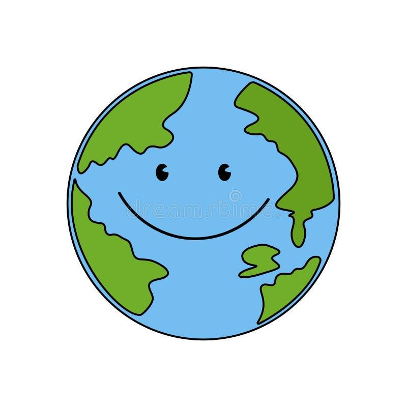 背景地球充分的行星星形 与微笑为人类传染媒介的逗人喜爱的面孔的地球 库存例证