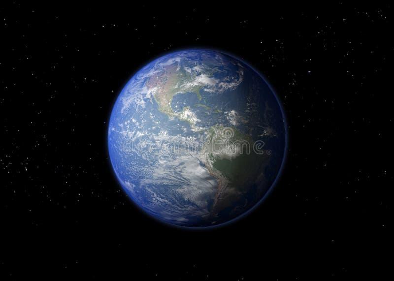 背景地球充分的行星星形 3d翻译 免版税库存图片