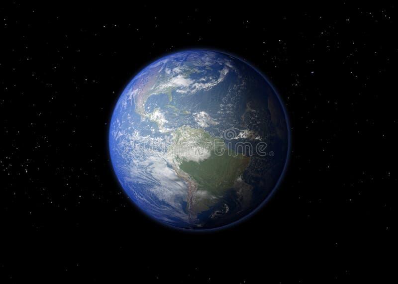 背景地球充分的行星星形 3d翻译. 世界, 背包.