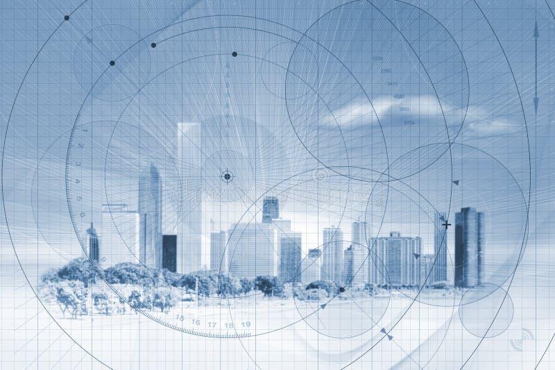 背景城市地平线 库存例证