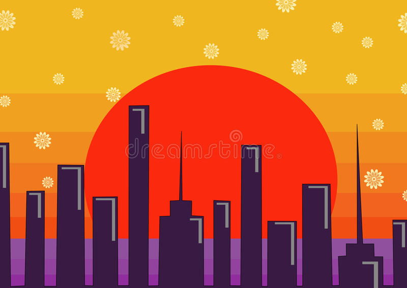 背景城市设计您地平线的向量 皇族释放例证