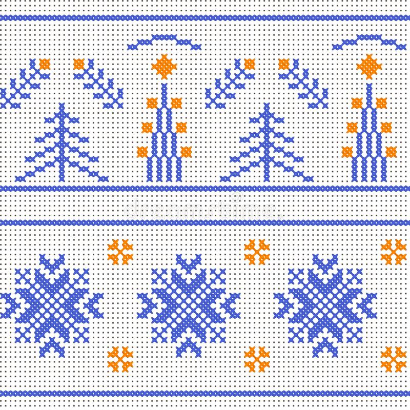 背景基本的要素编组了模式冬天 在帆布的十字绣 向量例证
