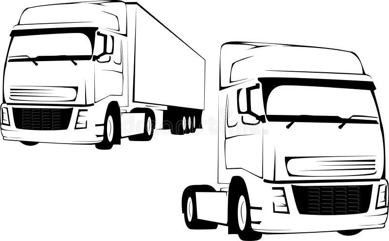 背景大卡车白色 库存例证