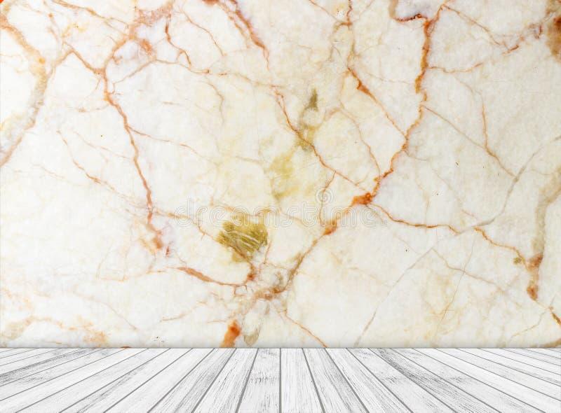 背景大理石墙壁和木头平板在透视纹理背景中安排了 图库摄影