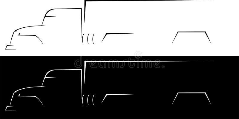 背景大黑色卡车白色 库存例证
