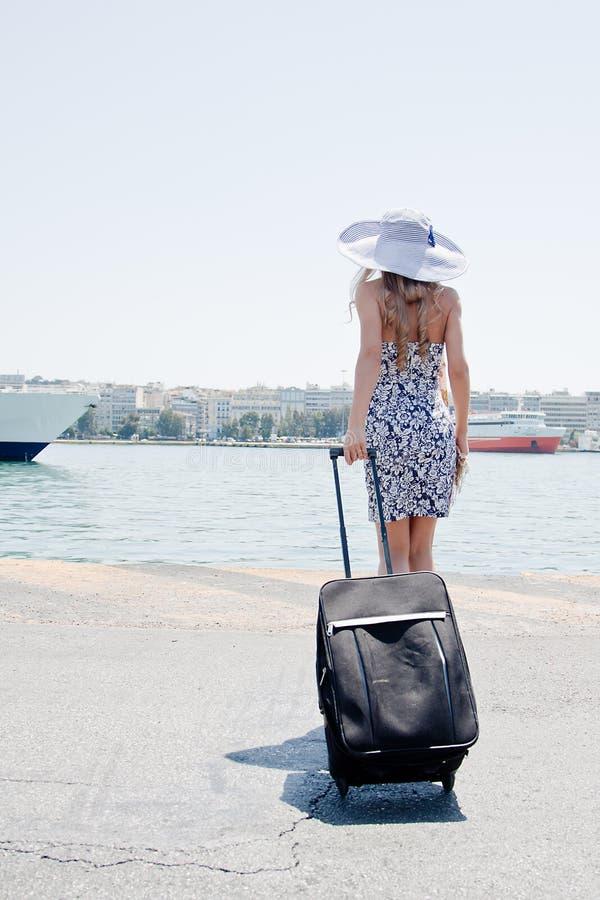 背景女孩划线员海洋 免版税图库摄影