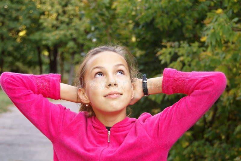背景女孩绿色叶子 库存照片