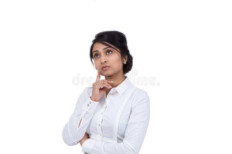 背景女实业家隔离认为的白色 图库摄影