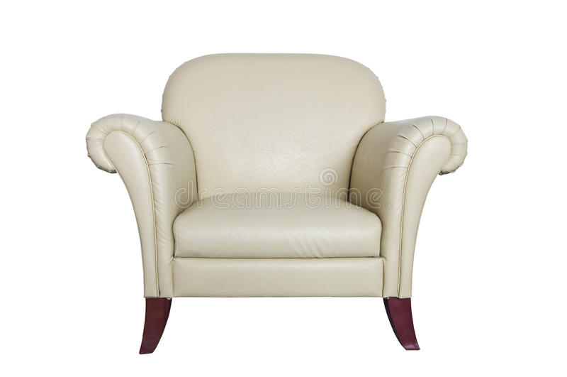 背景奶油色皮革沙发白色 免版税图库摄影