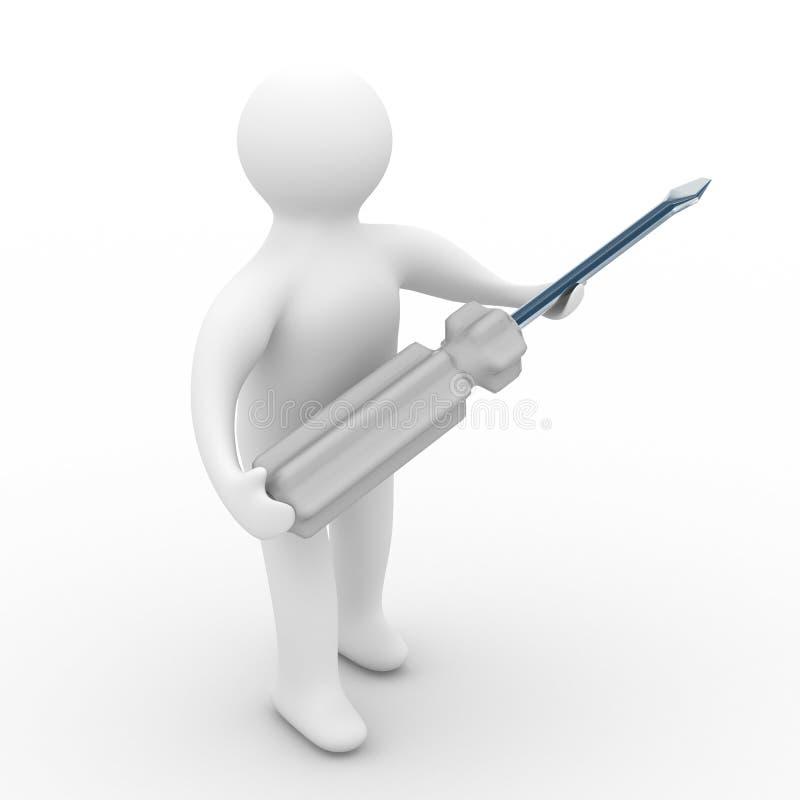 背景安装工工具白色 库存例证